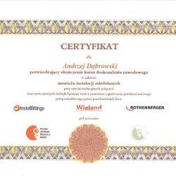 certyfikat andrzej dąbrowski
