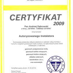 certyfikat junkers 2009
