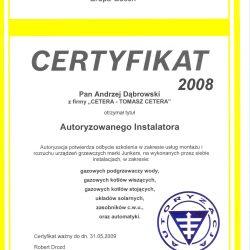 certyfikat junkers 2008