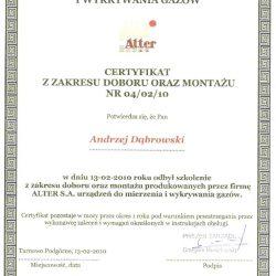 alter s.a. certyfikat