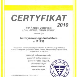 certyfikat junkers 2010